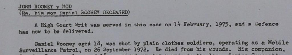 Daniel Rooney shooting 26th Sept 1972