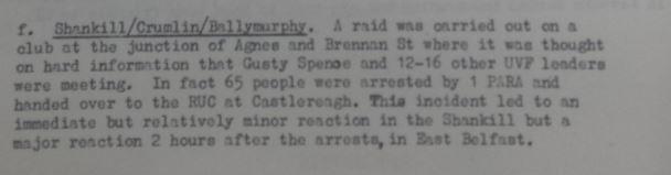 "Arrest of Gusty Spence on ""hard information"""