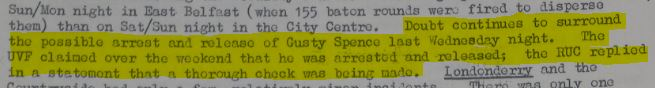 Gusty Spence's capture by the British Army and release by the police