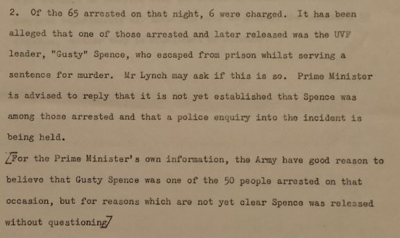 The release of Gusty Spence by the pollice