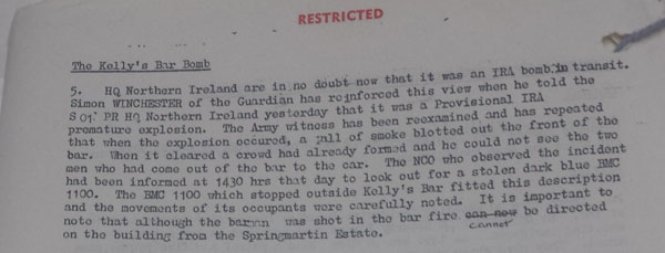 Part of the Situation Report file on the Kelly's Bar attack signed by the British Prime Minister