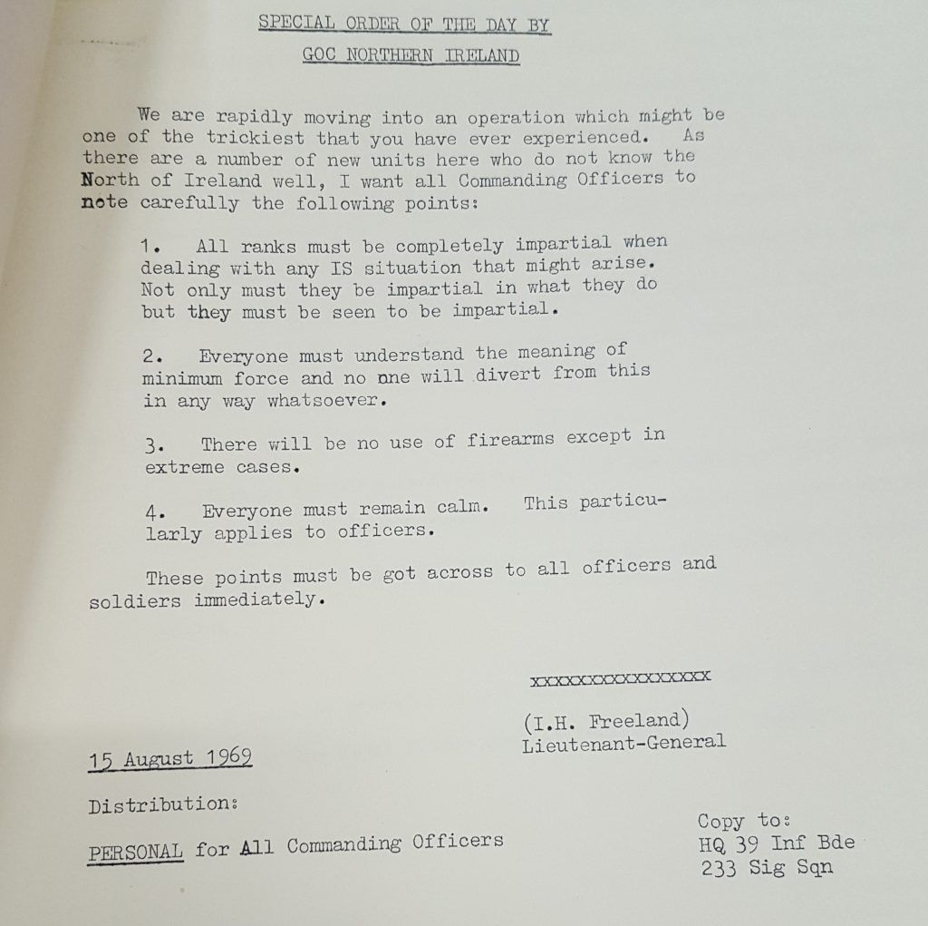 Special Order of the Day by Freeland 15th August 1969