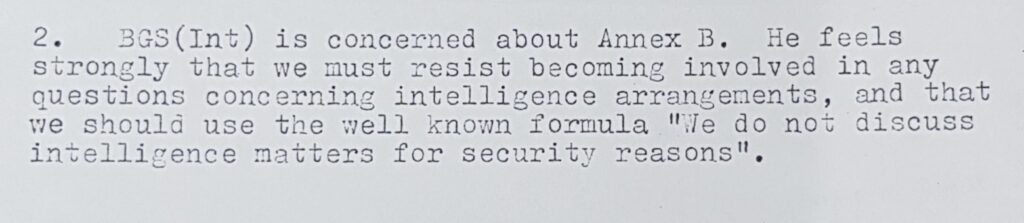 British Army does not discuss intelligence matters