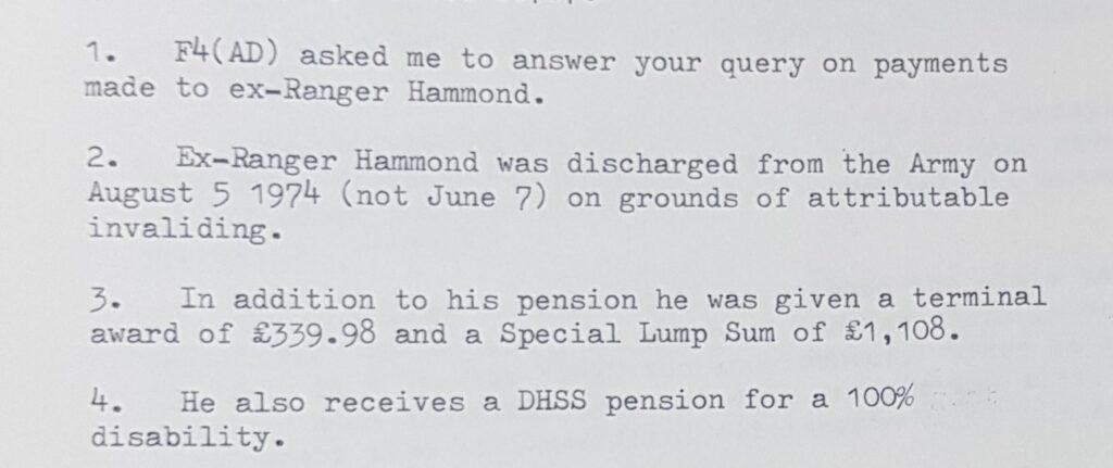 Ranger Hammond's British Army pension details
