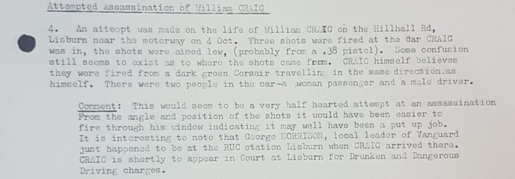 Alleged attempted assassination of William Craig