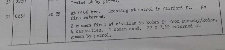 HQNI Report by Brigade Major on the killing of Marian Brown