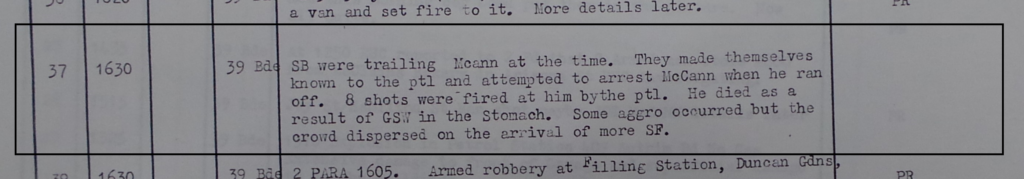 RUC Special Branch trailing Joe McCann