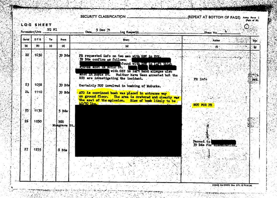 McGurk's Bar Commander's Diary 5th December 1971